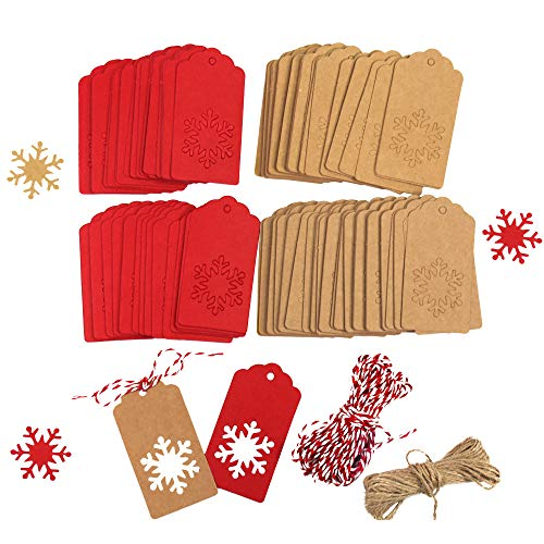 - Tuzico 200Pcs Paper Tags Kraft Christmas Gift Tags Christmas Snowflake Shape Hang Labels with Natural Jute Twine Brown and Red Twine Total 65.6 Feet for Gift Tag Decorations
