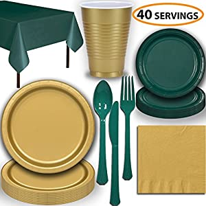 Disposable Party Supplies, Serves 40 - Gold and Hunter Green - Large and Small Paper Plates, 12 oz Plastic Cups, heavyweight Cutlery, Napkins, and Tablecloths. Full Two-Tone Tableware Set