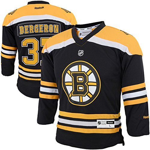 Patrice Bergeron Boston Bruins #37 Black Yellow NHL Kids 4-7 Reebok Home Jersey – Sports Center Store