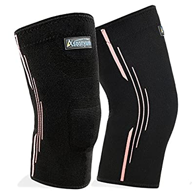 Compression Knee Sleeve Running - Best Knee Brace for Meniscus Tear, Arthritis, Injury Recovery, - Knee Support for CrossFit, Basketball Sports - Pair Wrap by ASOONYUM