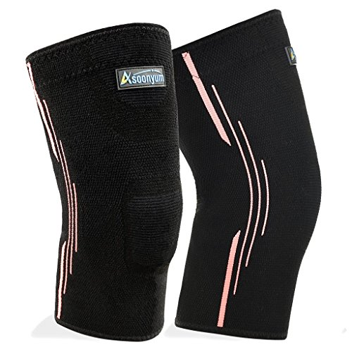 ASOONYUM Compression Knee Sleeve Running – Best Knee Brace for Meniscus Tear, Arthritis, Injury Restoration, Knee Support for CrossFit, Basketball Sports – Pair Wrap by – DiZiSports Store