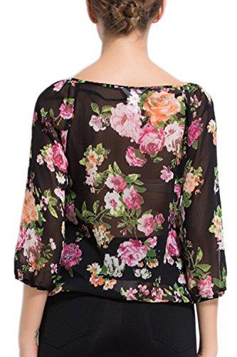 Hauts de Blouse Casual Floral manches longues pour femmes