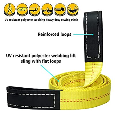 Lift Sling Webbing Straps Robbor 2 inch 7 Foot Tree Saver Winch Straps 13,000 Lbs Lift Sling w/Reinforced Eyes Heavy Duty Recovery ATV UTV Tow Straps 2 PK: Home Improvement