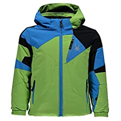 "A leader in sales, the mini leader jacket has moto-inspired styling, an array of color options, and a bevy of high-end features, including a removable hood, anti-abrasion overlay film, waterproof zips, and Spyder ""small to Tall"" feature, so t..."