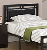 1PerfectChoice Youth Kids Simple Full Bed Black Faux Leather Headboard Metal Clean Lines