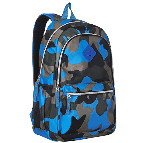 Camouflage 19-Inch Student School Book Bag & Kid's Sports Backpack, Blue