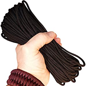 Paracord / Parachute Cord Best Heavy Duty 550 Chord Braided Utility Polyester Tent Camping Hiking Hunting Fishing Ropes String Military Survival Cord for Bracelets, Flag Pole Halyards, Projects.
