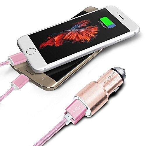 Price comparison product image I-Sonite (Rose Gold) Quick Charge Dual Port USB Full Aluminium Cased Car Charger Adaptor (3.1A/24W) With Break Glass Safety Hammer & 2 x 1 Meter Micro-USB Braded Data Cable For Zte Blade A2 Plus
