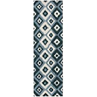 Coastal Geometric Ikat Diamonds Patterned Area Rug, Bold Nautical Orion Jewel Themed, Runner Indoor Hallway Doorway Living Area Bedroom Carpet, Modern Artwork Lover Style, Teal, Ivory, Size 3 x 10