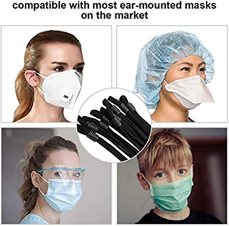 Stretchy Face Cover Earloop Elastic String//Elastic Band for Mask DIY Making Black, 50 PCS 50 Pieces Sewing Elastic Mask Band with Adjustable Buckle for Adult//Children