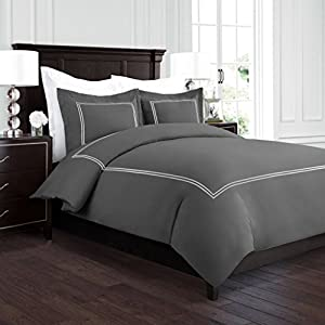 Beckham Hotel Collection Luxury Soft Brushed 2100 Series Embroidered Microfiber Duvet Cover Set with Beautiful 2-Stripe Embroidery - Hypoallergenic - King/California King - Gray/Silver