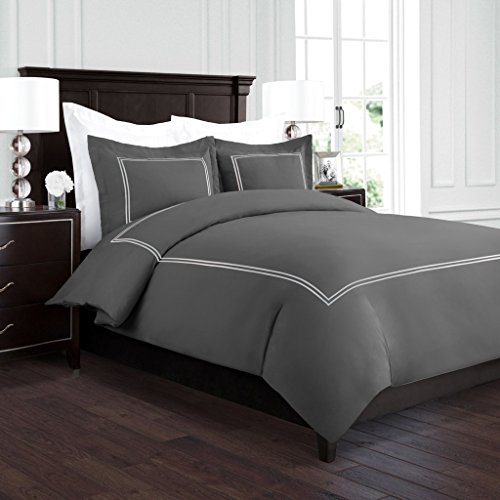 Beckham Hotel Collection Luxury Soft Brushed 2100 Series Embroidered Microfiber Duvet Cover Set with Beautiful 2-Stripe Embroidery - Hypoallergenic -Full/Queen - Gray/Silver