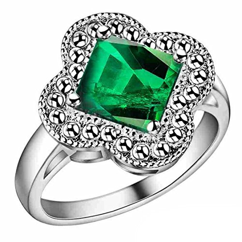 PSRINGS Big Sale Flower Square Sapphire Emerald Green Diamond Love Promise Engaget Party Jewelry - Square The Emerald Mall