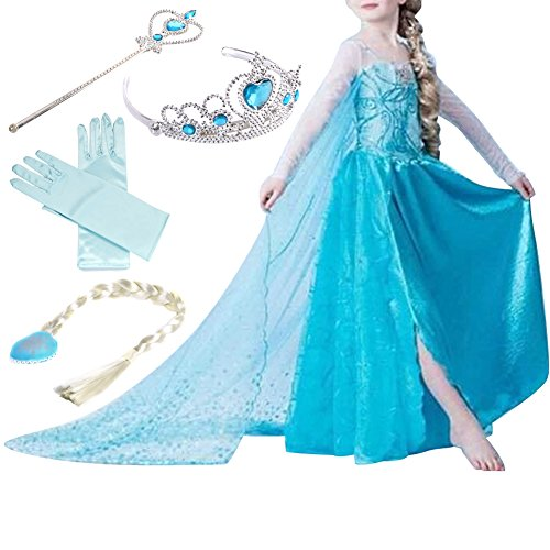 Timesun® Mädchen Prinzessin Schneeflocke Süßer Ausschnitt Kleid Kostüme mit Diadem, Handschuhen, Zauberstab und Zopf, Gr. 98/140 (120 ( Körpergröße 120cm ), #01 kleid mit 4 Zubehör)