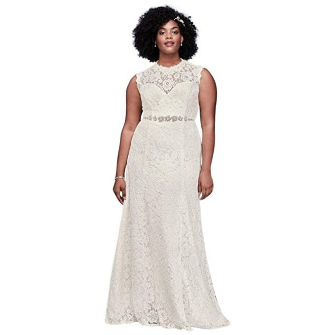 Allover Lace Plus Size Sheath Wedding Dress Style 9WG3910 at ...