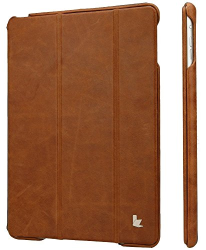 Jisoncase JS-ID6-04A Vintage Genuine Leather Smart Cover Case for iPad Air 2 and iPad Air (Brown)