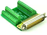 Electronics-Salon Slim Right Angle D'SUB DB50 Male Header Breakout Board Module, Terminal Block DSUB Connector.
