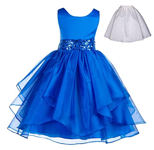 ekidsbridal Wedding Ruffles Organza Flower Girl Dress Sequin Toddler Pageant Free Petticoat 012s Royal Blue