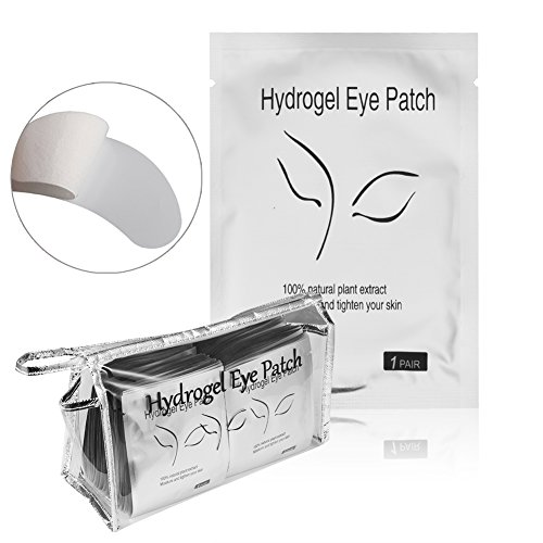 Under Eye Eyelash Extension Gel Patches Kit, Lint Free Eye Mask Pads Lash Extension Beauty Tool with Transparent Cosmetic Bag 100 Pairs