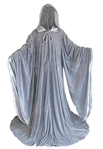 Artemisia Designs Velvet Cosplay Wizard Robe with Satin Lined Hood and Sleeves Grey -