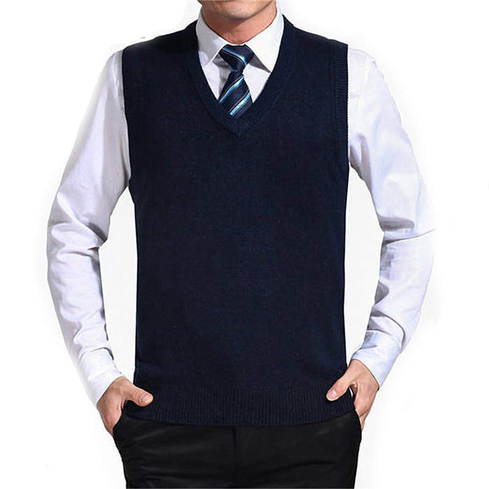 WodCht Solid Color Sweater Vest Men Cashmere Sweaters Wool Pullover V-Neck Sleeveless Jersey
