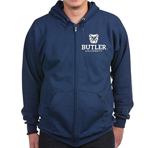 CafePress - Butler University Bulldog - Zip Hoodie, Classic Hooded Sweatshirt with Metal Zipper Navy ()