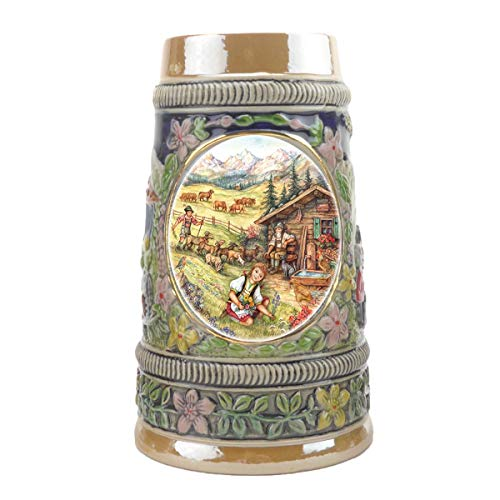 """Spring In Germany"" Essence of Europe Gifts E.H.G. Collectible Ceramic Shot Glass Mini Beer Stein (#1 in Collection of Four Shot Steins) ()"