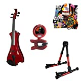 Meisel Electric Violin Pack Red w/Red Stand, Tuner & Skull Rosin
