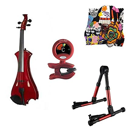 Amazon com: Meisel Electric Violin Pack Red w/Red Stand