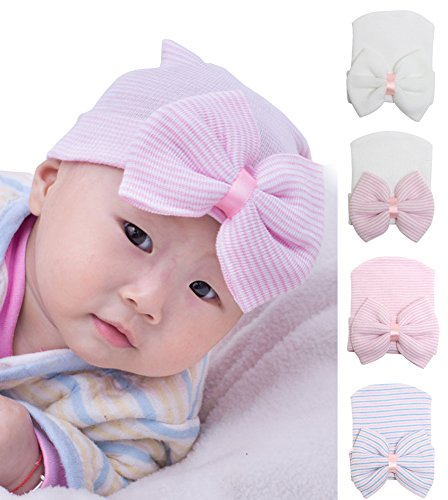 (Gellwhu Pink White Blue Newborn Girl Nursery Beanie Hospital Hat with Large Bow (4 Colors Pack)