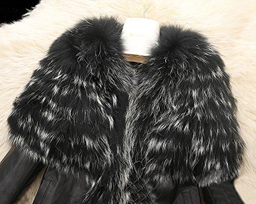 Abrigo Con Chaqueta Cuero Jacket Corta Imitación Mujer Bolsillo Manga Negro Larga 7aqxCxwg