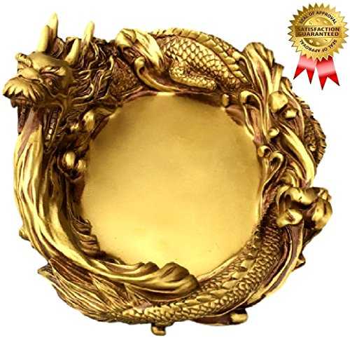SPJ: Golden Dragon Brass Large Ashtray Antique Modern Design Feng Shui Figurine Statue as Gift for Smoker - Europe Statue