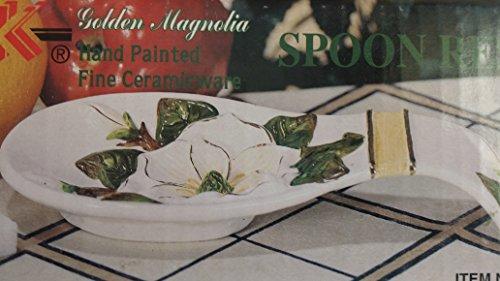 - Golden Magnolia Ceramic Spoon Rest