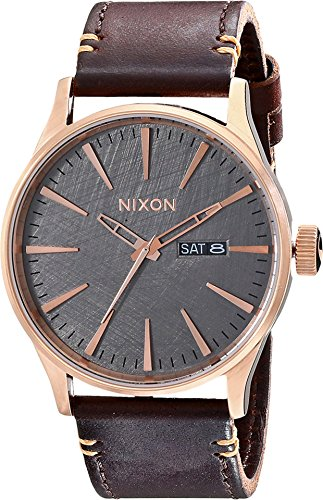 Nixon Sentry Leather A1052001-00. Rose Gold, Gunmetal  and Brown Men's Watch (42mm Rose Gold/Gunmetal Watch Face/ 23mm Brown Leather Band)