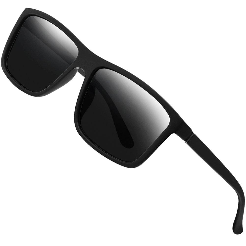 Polarized Sunglasses for Men Driving Mens Sunglasses Rectangular Vintage Sun Glasses For Men/Women Matte Black by Sinuoda