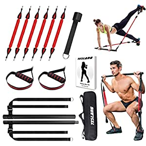 Well-Being-Matters 51r3-2RL%2BmL._SS300_ Upgraded 60-180LBS Adjustable Pilates Bar Kit with Resistance Band, Anti-Break, Portable Fitness Exercise Workout Toning…