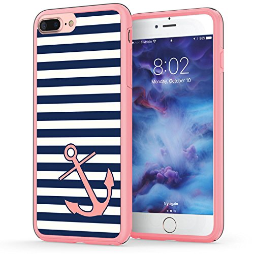 iPhone 7 Plus Case, Anchor iPhone 8 Plus Case, True Color Nautical Coral Anchor on Stripes Hybrid Hard Back Cover + Soft Slim Durable Protective Shockproof Rubber TPU Bumper - Pink