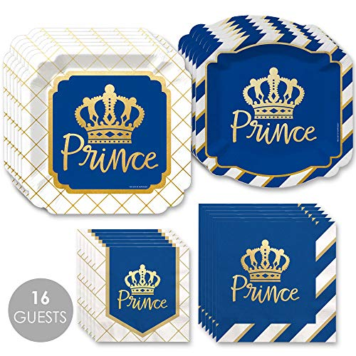 Royal Prince Charming with Gold Foil - Baby Shower or Birthday Party Tableware Plates and Napkins - Bundle for 16]()