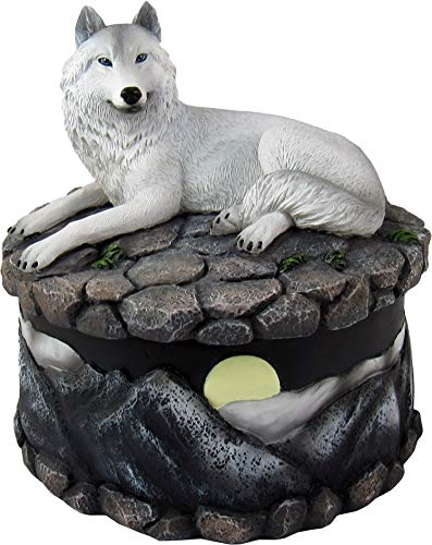 DWK - Wilderness Keepsakes - Wild White Wolf Lidded Figurine Trinket Box with Full Moon and Snowy Mountain Landscape Scene Nocturnal Wildlife Mystical Forest Nature Home Decor Office Accent, 5-inch