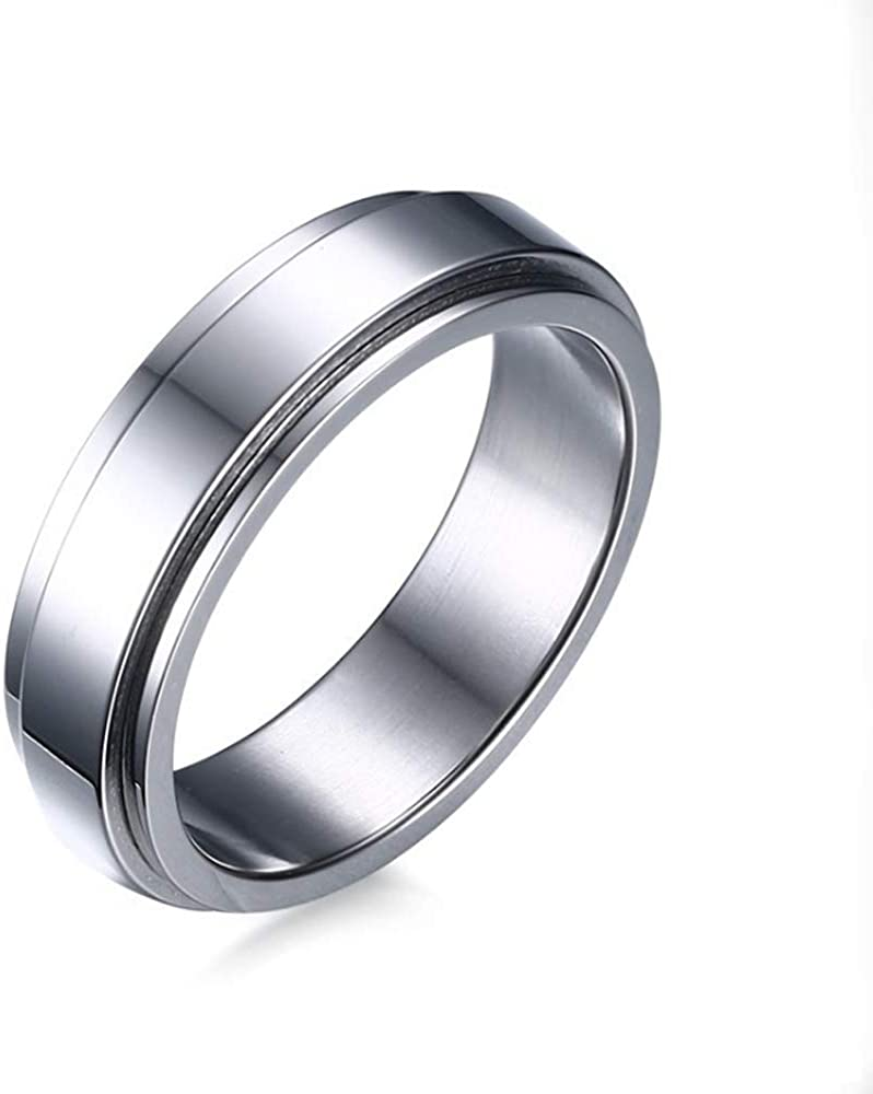 TULIP LY Stainless Steel Spinner Rings Refined Style Unisex Ring Cool Simple Wedding Band Ring 6mm Men's Jewelry Gold Silver