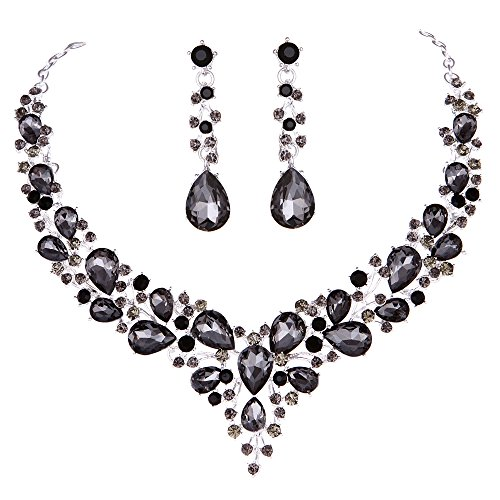 Youfir Bridal Austrian Crystal Necklace and Earrings Jewelry Set Gifts fit with Wedding Dress (Grey Black)