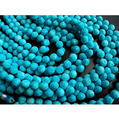 Super Quality Gemstone Beautiful Jewelry Turquoise Faceted Onion Beads/Briolette Beads/Chinese Turquoise - 7x7mm Each, 8 Inch Strand Code-JP-3279   B07KNQSDZX