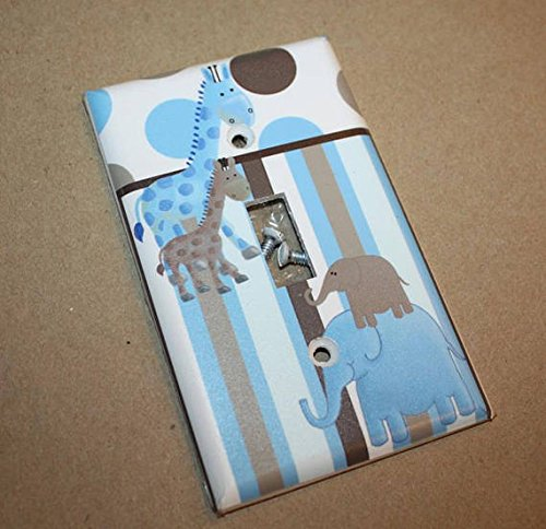 Blue Brown Elephants Giraffe Jungle Kids Bedroom Baby Nursery Single Light Switch Cover LS0009 (Single Cable) Toad and Lily LS0009d
