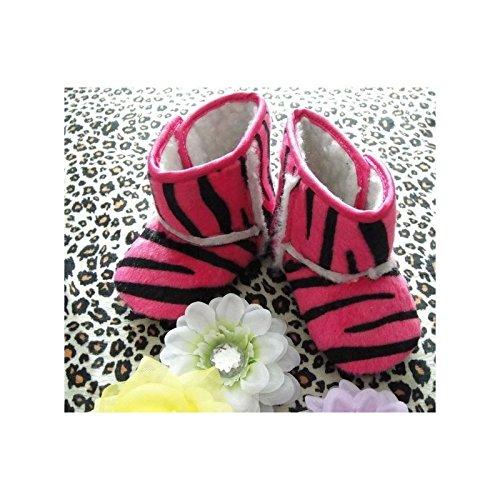Botas flexibles bebé, modelo zèbré Fushia