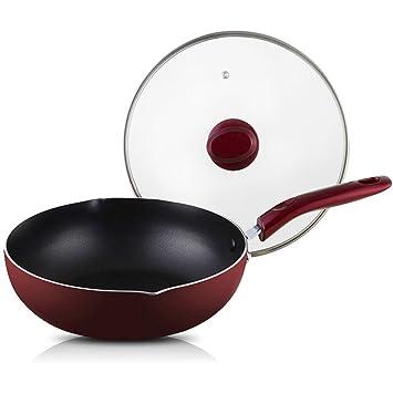 Sartén antiadherente sartén Profundamente revolver protección contra salpicaduras de wok Sin pfoa Aluminio Sin humo Fácil limpieza Sartenes de saltear de ...