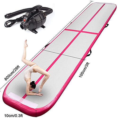 FBSPORT Inflatable Gymnastics AirTrack Tumbling Mat Air Track Floor Mats with Electric Air Pump for Home Use/Training/Cheerleading/Beach/Park and Water Length 9.8foot-(300cm) (Pink, 26)