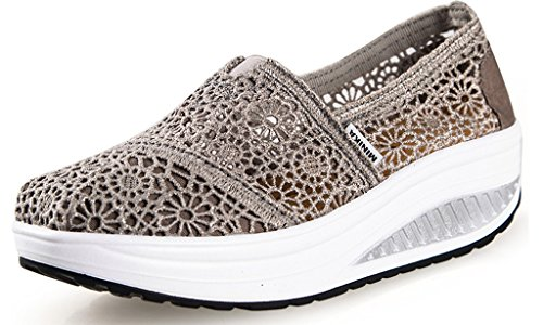 Maybest Breathable Women Shoes Lace Multicolor Loafers Wedges Lose Weight Creepers Platform Shoes Grey 5 B (M) US