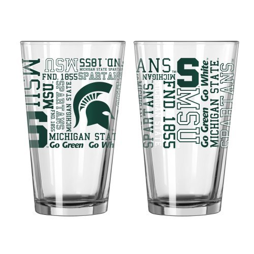 NCAA Michigan State - Spirit Pint Glasses (2) | MSU Spartans 16 oz. Beer Pints - Set of 2