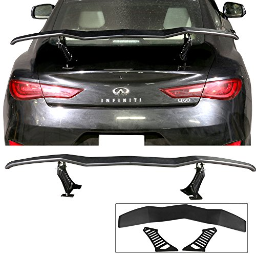 Adjustable Trunk Spoiler Wing Fits Universal Car | Lambo Style Unpainted Black ABS Rear Roof Tail Air by IKON MOTORSPORTS | 2004 2005 2006 2007 2008 2009 2010 2011 2012 2013 2014 2015 2016 2017