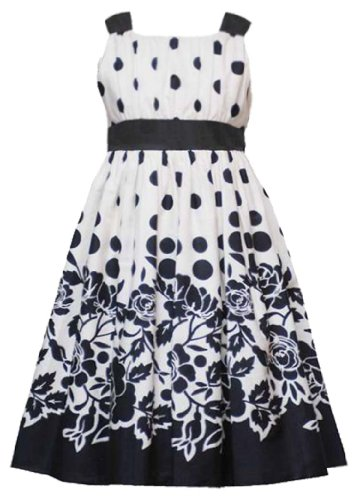 Rare Editions Tween Girls 7-16 Ivory Black Dots to Floral Border Print Cotton Dress, Ivory, 7